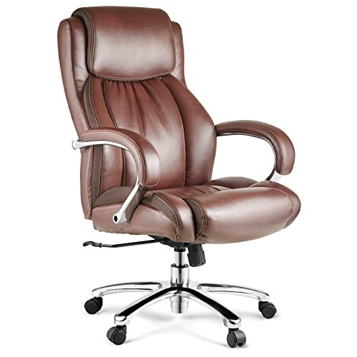 Halter HAL-007 Bonded Leather Office Chair, Executive Computer Chair for Home & Office - Chrome Arms & Base - Supports 500LBS