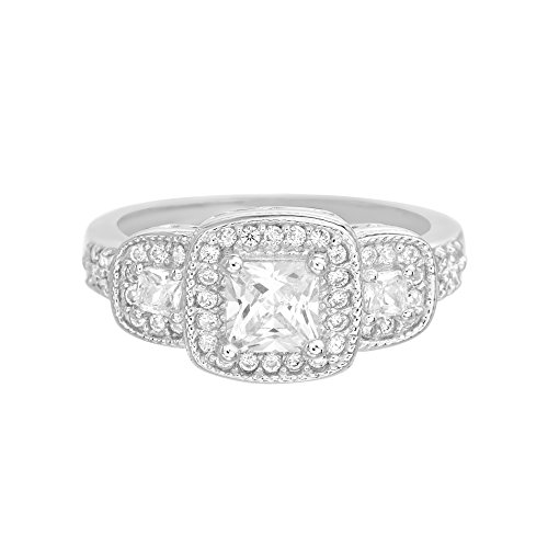 Devin Rose Womens Three Stone Princess Cut CZ Halo Anniversary/Engagement Ring in Sterling Silver (Size 7)