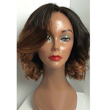 Women s Human Hair Lace Wig Human Hair Full Lace Glueless Full Lace 130%  Density Wavy Wig Black Medium Auburn Short Medium Long Ombre f5c60d92d1