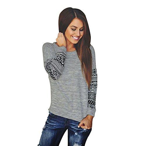 Vin beauty TOPmountain Femmes Avslappnad Manches Longues Col RAS du Cou en Vrac Quotidien T Shirt Chemisier Sexy Tops Sauteur