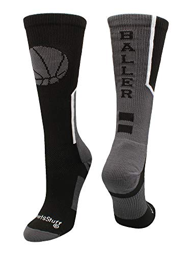 MadSportsStuff Baller Basketball Logo Crew Socks (Black/Graphite, Medium)