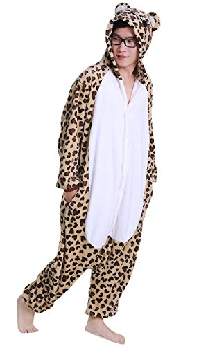 [FashionFits Unisex Pyjama Leopard Bear Costume Pajama Jumpsuit Party One Piece L] (Mens Sports Costume Ideas)