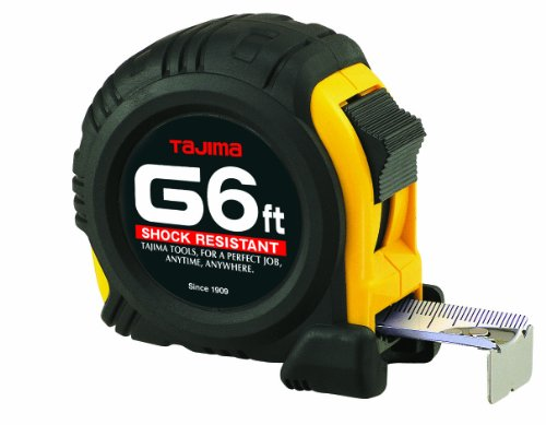 TAJIMA Tape Measure - 6 ft x 1/2 inch G-Series Measuring Tape with Shock Resistant Case & Acrylic Coated Blade - G-6BW