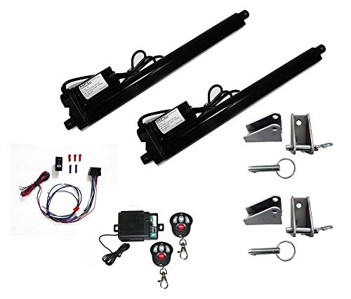 "Complete Linear Actuator Kit: Includes (2) Black Heavy Duty 12 Volt Linear Actuators with 12"" Stroke [225 lbs Max Each], (4) Custom Fit Steel Brackets, (1) Rocker Switch & Wiring, (2) Remote Controls"