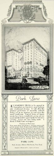1924 Ad Park Lane Luxury Apartment Hotel Ave 48Th 49Th St Ny City Residential   Original Print Ad