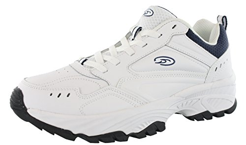 Dr. Scholl's Men's Stamina Sneaker,White/Navy Leather,US 9.5 W