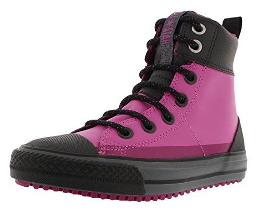 CONVERSE Chuck Taylor All Star Asphalt Hi Boot Fashion Sneaker Shoe - Pink/Black - Little Kid - 12 (Converse Girl Boots)