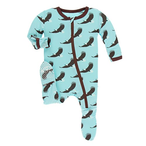 Kickee Pants Little Boys Print Footie With Zipper - Soaring Eagle, 3-6 Months