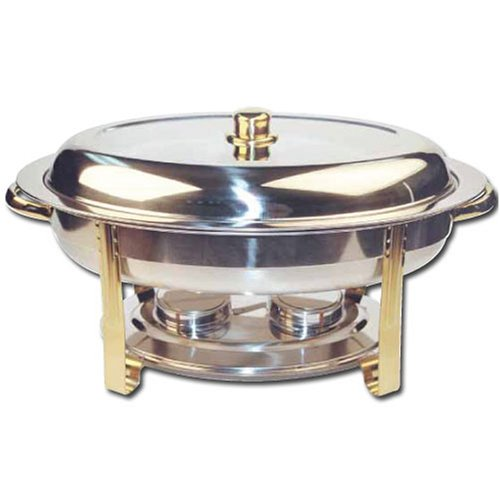 (Winware 6 Quart Oval Stainless Steel Gold Accented Chafer)