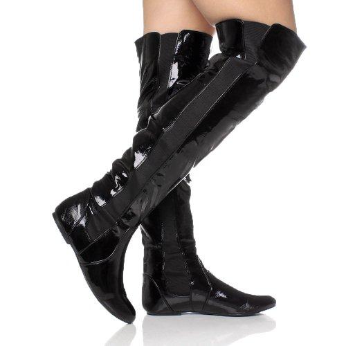 Damen Flach Kleine Absatz Elastisch Schenkel Über Das Knie Overkneestiefel Größe Schwarzem Lackleder