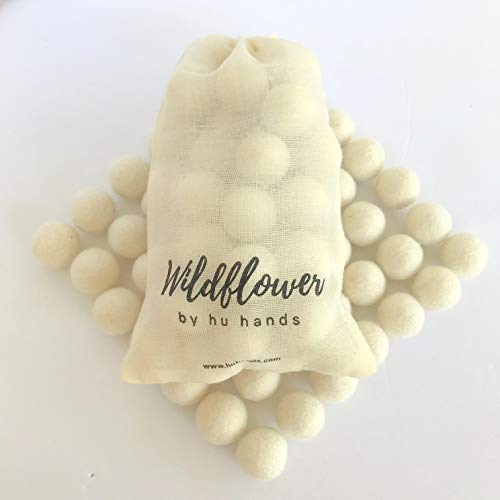 100% Handmade Wool Felt Pom Poms - (50) Pure New Zealand Wool Felt Balls - DIY Pompoms - White 0.8-1.0