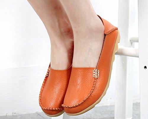 Dagdrivaren Skor, Kvinnor Platta Loafers Läder Slip På Tofflor Tillfällig Gångdriv Skor Apelsin