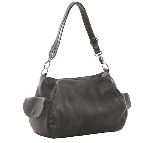 Piel Leather Top-Zip Shoulder Bag Cross Body Hobo, Charcoal, One Size by Piel Leather