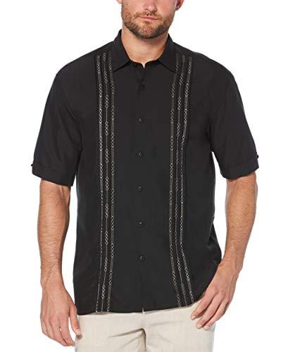 Cubavera Men's Tuck with Geometric Detail Short Sleeve Woven Shirt, Jet Black, X-Large (Rayon Dress Shirt)
