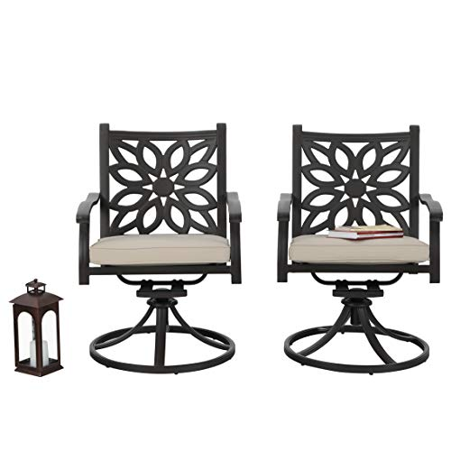 PHI VILLA Outdoor Cast Aluminum Extra Wide Rocker Swivel Chairs with Cushion Set of 2 - Frosted Surface