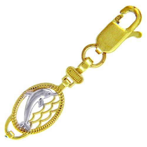 Petits Merveilles D'amour - 10 ct Deux Ton Or Bracelet - Dauphins Deux Ton Bracelet