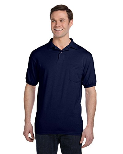 (Hanes 5.2 oz., 50/50 EcoSmart Jersey Pocket Polo Shirt-L (Navy))