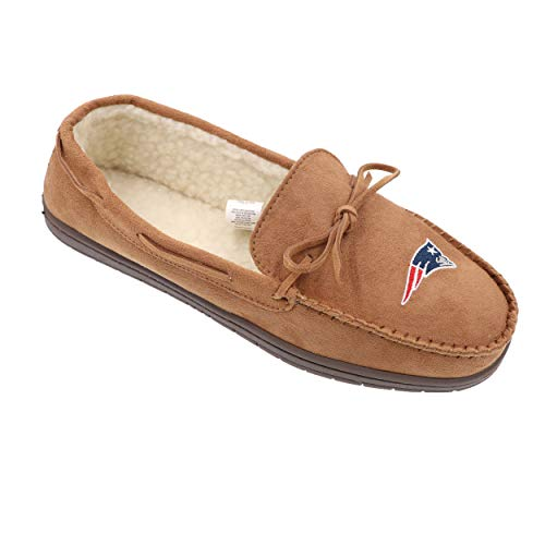 FOCO NFL New England Patriots Mens Football Team Logo Moccasin Slippers Shoesfootball Team Logo Moccasin Slippers Shoes, Team Color, Large (11-12)