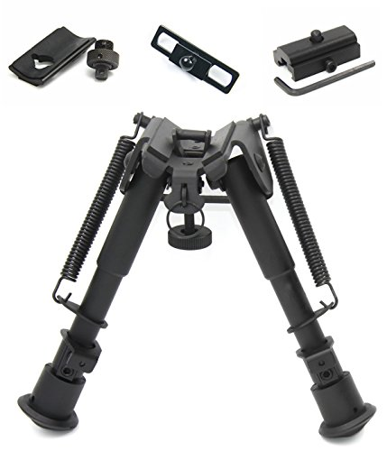 JINSE 6-9 Inches Tactical Bipod Adjustable Spring Return with 3 Adapters (Quad Tactical)