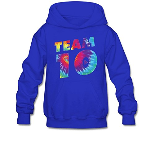 Aliensee Youth Colorful Team 10 Hoodie Sweatshirt Suitable for 10-15yr old L Royal Blue