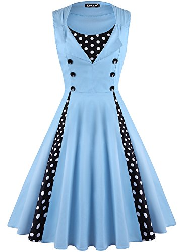(OWIN Women's Vintage 1950's Floral Spring Garden Rockabilly Swing Prom Party Cocktail Dress, Light Blue,)