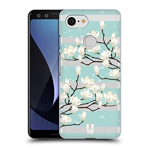 (Head Case Designs White Magnolia Blossoms Hard Back Case Compatible for Google Pixel 3)