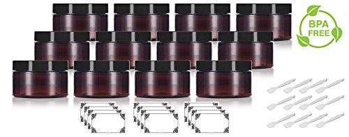 Amber PET Plastic (BPA Free) Refillable Low Profile Jar - 4 oz (12 pack) + Spatulas and ()