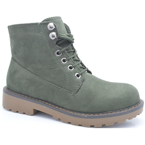 Combat Boots Army Ladies Flat UK Lined Grip 920 5 1 Sole Winter Green Womens Ankle Shoes qxBXXT