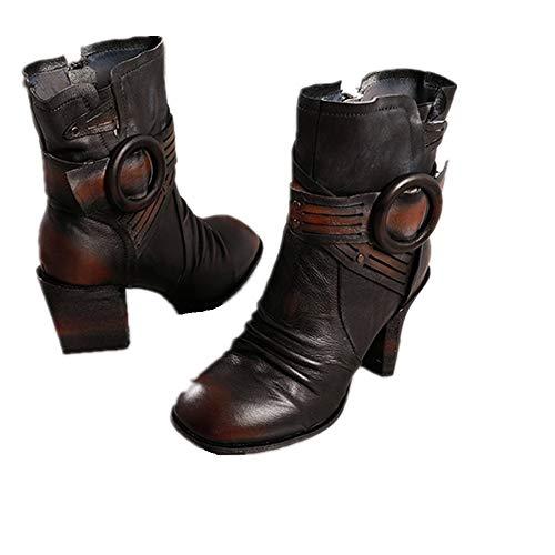 Colore Colore EU Grigio Grigio Gaslinyuan Block Zipper Dimensione Vintage Vintage Boots Women Buckle Grigio 37 Leather Shoes Az7A1qw