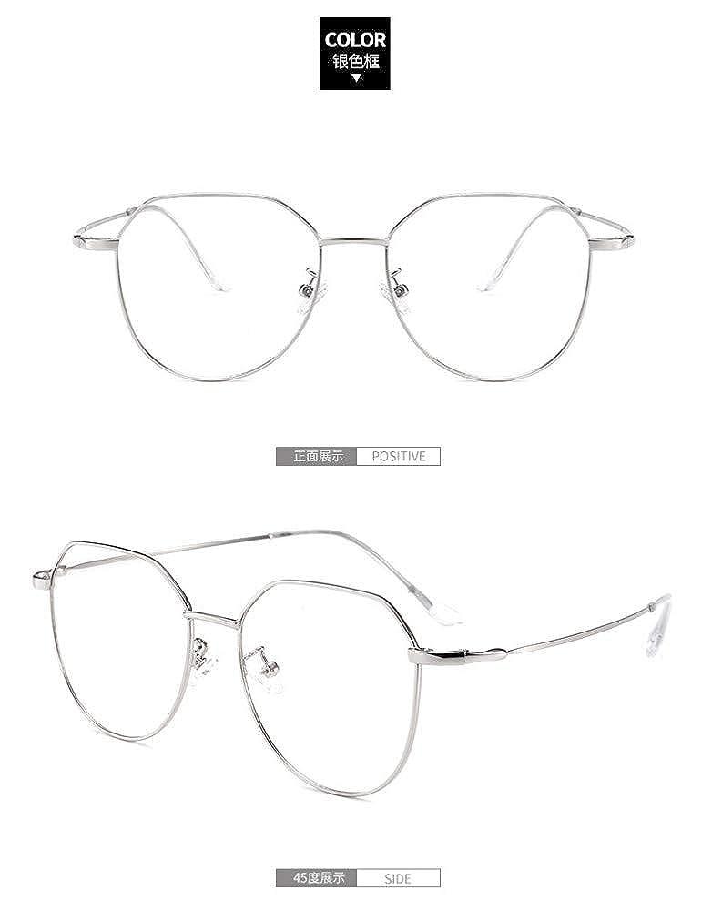 Retro ultra light fine side irregular////flat mirror girl anti-blue glasses black silver frame
