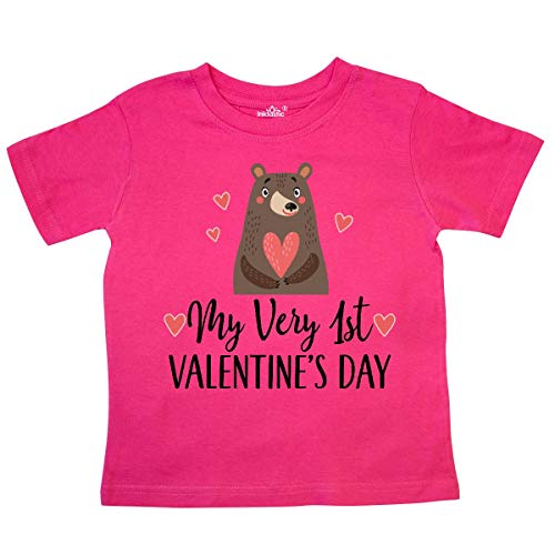 (inktastic - 1st Valentines Day Woodland Bear Toddler T-Shirt 5/6T Hot Pink 33af1)
