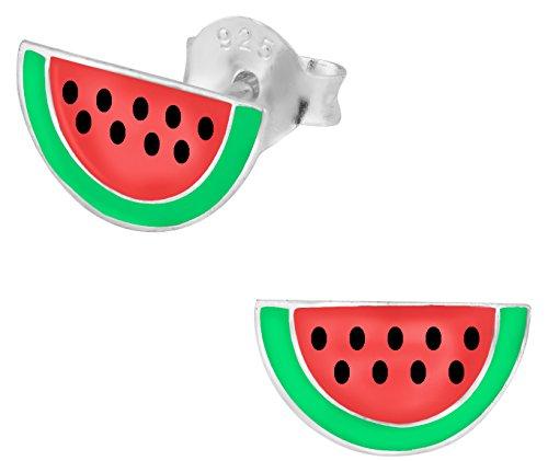 Hypoallergenic Sterling Silver Watermelon Stud Earrings for Kids (Nickel Free)