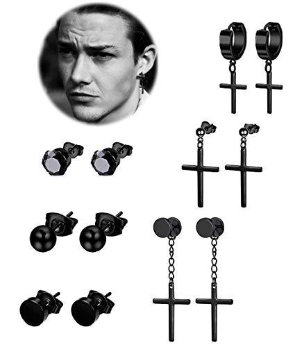 (REVOLIA 6 Pairs Stainless Steel Dangle Cross Stud Earrings for Men Women Hoop Earrings Huggie Vintage Ear Piercing)
