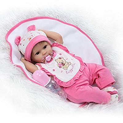 Acestar Reborn Baby Doll 18 inch 45cm Soft Silicone Cloth Body Magnetic Mouth Lifelike Toys Reborn Doll for Boys and Girls Birthday Acestar-45049o: Toys & Games