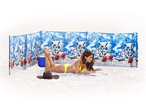 Beach Windscreen, Privacy Screen, Wind Blocker - Ships and Shells, with Mallet and Carry Bag