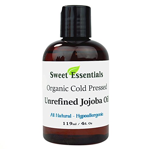 Premium 100% Pure Cold Pressed Organic Virgin / Unrefined Jojoba Oil - 4oz - Imported From Argentina - Moisturize As Well As Repair and Prevent Damage to Hair - Offers Relief From Dry & Cracked Skin, Eczema, Baby Eczema, Psoriasis, Dermatitis, Rosace