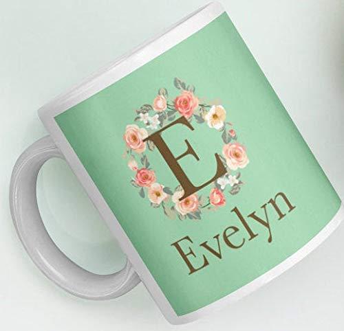 Customizable Gift Mug Personalized Custom Initial E Rose Floral Wreath Monogram Green