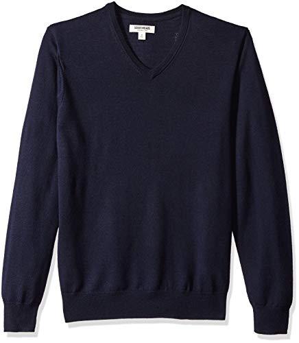 Goodthreads Men's Merino Wool V-Neck Sweater, Navy, Medium Tall -