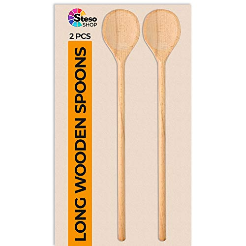 Large Wooden Spoons - Wooden Utensils Extra Long - for Mixing Stirring Baking Serving Cooking Utensils Wood Spoon - Long Handled Wooden Spoons