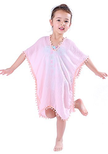 MissShorthair Fashion Girls' Cover-ups Swimsuit Wraps Beach Dress Top with Pompom Tassel (Pink/Light Pink, Age: 7-12 ()