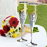 Personalized Hortense B. Hewitt Sparkling Love Champagne Flutes Engraved Customized , Set of 2
