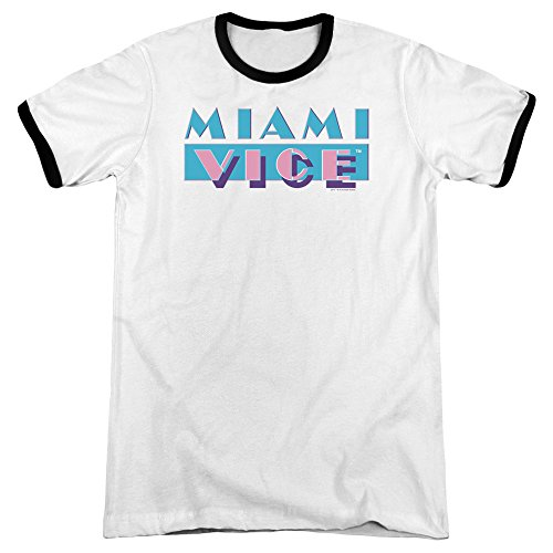 Miami Vice Logo Retro Ringer T-shirt - S to 3XL