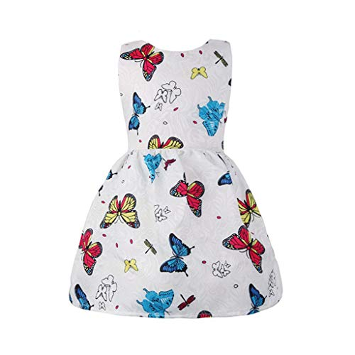 Transser Girls Butterfly Print Princess Dress Kids Sleeveless Outfits Cotton Breathable Off Soulder Sundress