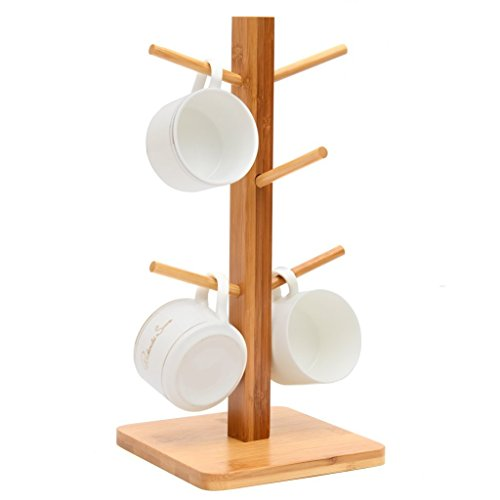 MUGIAZII Mug Tree, Mug Stand, Storage Coffee Tea Cup Organizer Holder with 6 Hooks (Natural Bamboo)