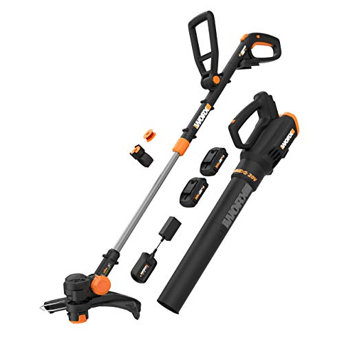 WORX WG930.1 WG930 20V 10″ Cordless String Trimmer & Turbine, 2 hi-Capacity 4.0Ah Batteries and Charger Grass Trimmer/Blower Combo Kit, Black and Orange