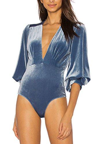 Velour Dress Tights (PinkWind Lady 1PC V Long Bell Sleeve Velvet G-String Bodysuit Leotard Tight XL Blue)
