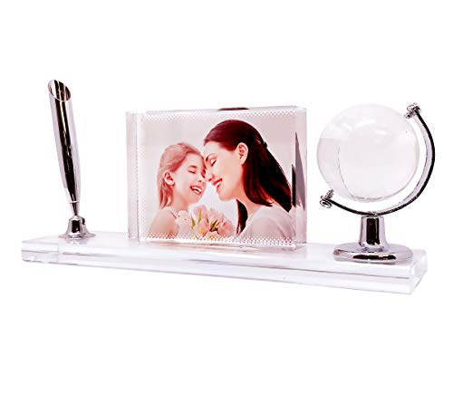 P&L ART. Glass Print with Your Photo, Office Desktop Decor Personalized Picture Gift On Crystal Glass Clear Frame with Globe and Pen Holder, 7x2.5 Inch