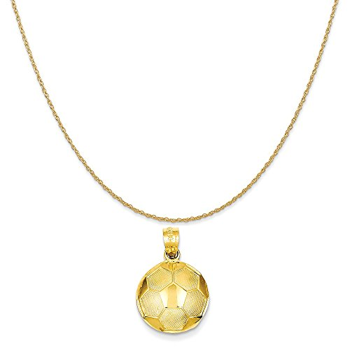 14k Yellow Gold Soccer Ball Pendant on a 14K Yellow Gold Rope Chain Necklace, 18