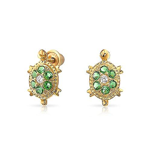 Bling Jewelry Boucles d'oreille petites tortues vertes en OR 14K