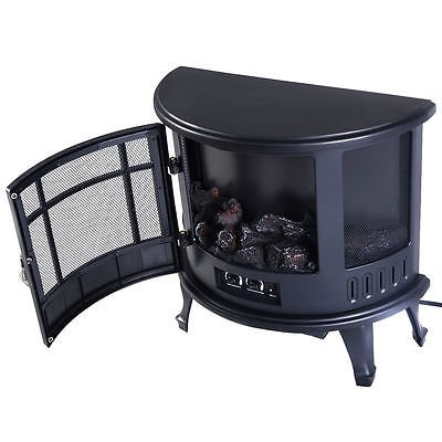 Free Standing Electric 1500W Fireplace Heater Fire Flame Stove Wood Adjustable by Standing (Image #1)